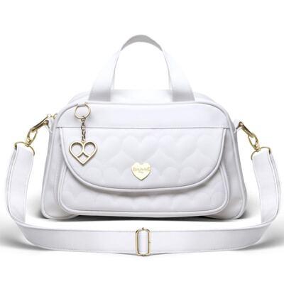 Imagem 1 do produto Bolsa Térmica para bebe Valencia Corações Matelassê Branca - Classic for Baby Bags