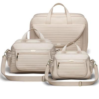 Imagem 1 do produto Kit Mala Maternidade para bebe  + Bolsa Sevilha + Frasqueira Térmica León Golden Marfim - Classic for Baby Bags