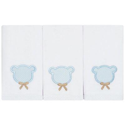 Kit com 3 fraldinhas de boca em malha Teddy Bear - Classic for Baby