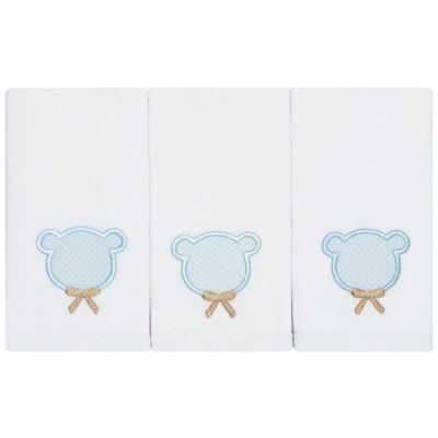 Imagem 1 do produto Kit com 3 fraldinhas de boca em malha Teddy Bear - Classic for Baby