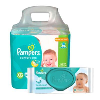 Imagem 1 do produto Kit Pampers Fralda Descartável Confort Sec XG 62 Unidades + Lenço Umedecido Fresh Clean 48 Unidades