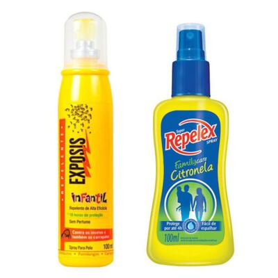Imagem 1 do produto Repelente Exposis Spray Infantil 100ml + Repelente Spray Repelex Citronela 100ml