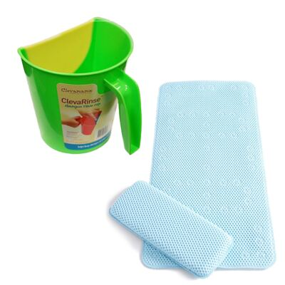 Enxaguante de shampoo ClevaRinse Verde e Tapete antiderrapante para banho e suporte para joelhos ClevaBath - Clevamama