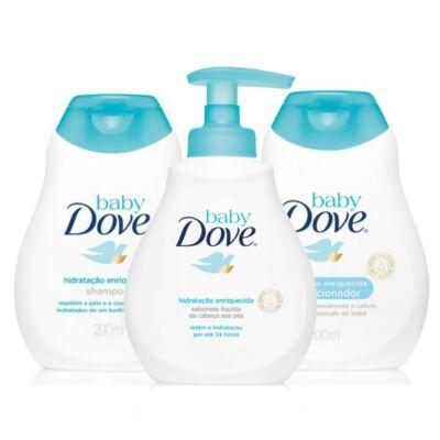 Imagem 1 do produto Kit Dove Baby Hidratação Enriquecida Shampoo 200ml + Condicionador 200ml + Sabonete Líquido Da Cabeça Aos Pés 200ml