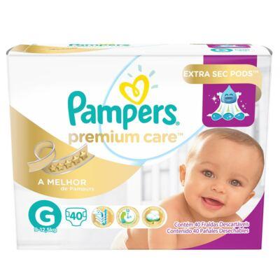 Imagem 1 do produto Fralda Descartável Pampers Premium Care G 40 Unidades