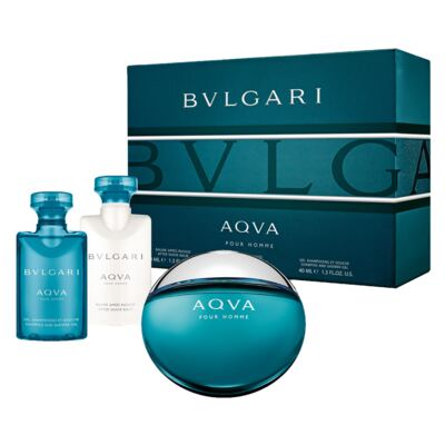 Aqva Pour Homme BVLGARI - Masculino - Eau de Toilette - Perfume + Gel de Banho + Pós Barba - Kit
