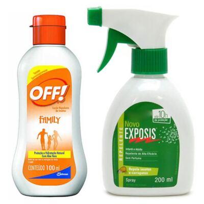 Imagem 1 do produto Repelente Exposis Spray 200ml + Repelente OFF Family Loção 100ml