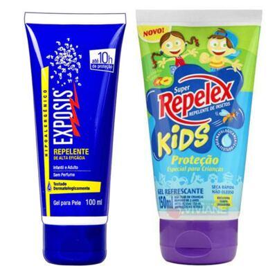 Imagem 1 do produto Repelente Exposis Gel 100ml + Repelente Replex Kids 133ml
