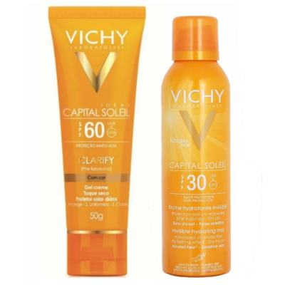 Protetor Solar Vichy Capital Soleil Clarify FPS60 50g + Hidratante Vichy Capital Soleil Bruma FPS30 200ml