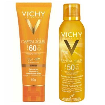 Imagem 1 do produto Protetor Solar Vichy Capital Soleil Clarify FPS60 50g + Hidratante Corporal Vichy FPS 50 200ml Capital Soleil Bruma