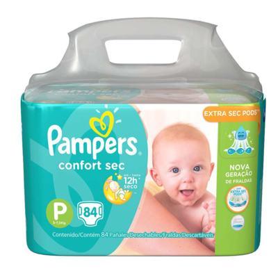 Imagem 2 do produto Kit Pampers Fralda Descartável Confort Sec P 84 Unidades + Lenço Umedecido Fresh Clean 48 Unidades