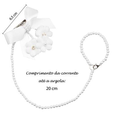 Imagem 4 do produto Prendedor de chupeta Laço & Flor Pérolas Branco - Roana