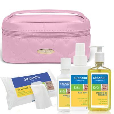 Imagem 1 do produto Necessaire Farmacinha Corações Matelassê Rosa + Kit Granado Bebê - Classic For Baby Bags & Granado