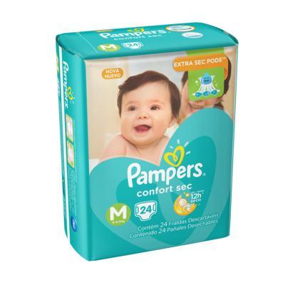 Imagem 1 do produto Fralda Pampers Confort Sec M 24 unidades -