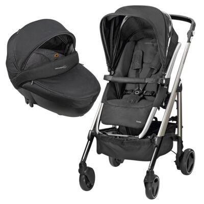 Travel System: Carrinho de bebê New Loola Modern Black + Moisés Windoo Plus Black Raven (0m+) - Bébé Confort