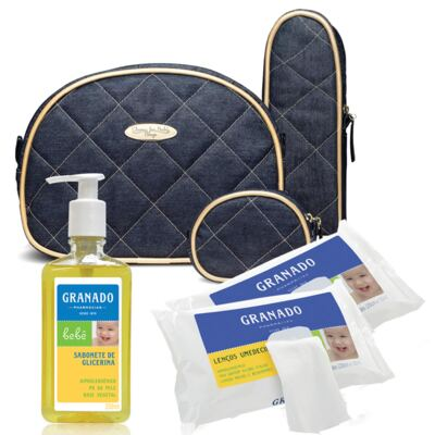 Kit Acessórios Golden Denim +  Lenços Umedecidos + Sabonete Líquido Bebê Tradicional - Classic For Baby Bags & Granado
