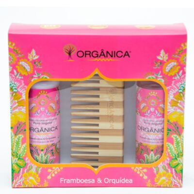 Framboesa & Orquídea Orgânica - Kit Loção Hidratante 100ml + Sabonete Líquido 100ml + Pente - Kit