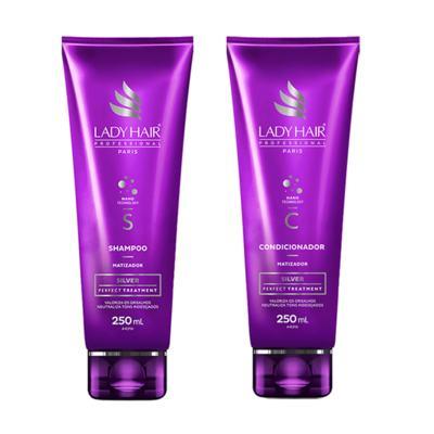 KIT LADYHAIR SILVER Manutencao Diaria com Oleo ARGAN 2 passos 250ml - 1 Shampoo + 1 Condicionador