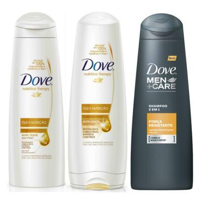 Imagem 1 do produto Kit Dove Óleo Nutrição Shampoo 400ml + Condicionador 400ml + Shampoo Dove Men Care 2 em 1 Força Resistente 400ml