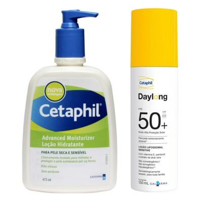 Imagem 1 do produto Kit Cetaphil Loção Hidratante Advanced Moisturizer Pump 473ml + Protetor Solar Daylong Lipossomal Sensitive FPS 50 150ml