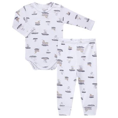 Body longo c/ Calça para bebe em algodão canelado Wally - Dedeka - DDK0890/E112 Conjunto de Body Canelado Estampado Morsa-M