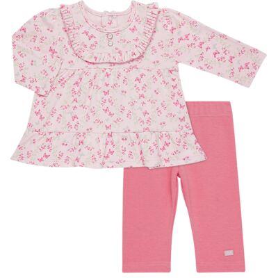 Bata com Legging para bebe em algodão egípcio c/ jato de cerâmica e filtro solar fps 50  Butterfly Garden - Mini & Kids - CJBG0001.84 CON.BATA M/L BABADOS C/LEGGING-SUEDINE-G