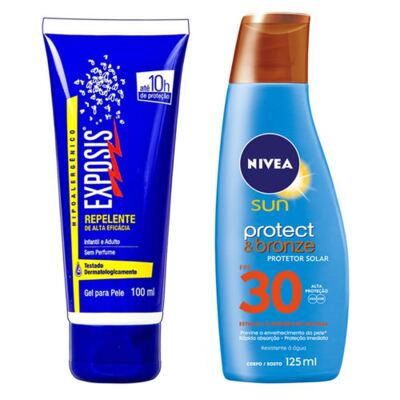Repelente Exposis Gel 100ml + Protetor Solar Nivea Sun Protect & Bronze FPS 30 200ml