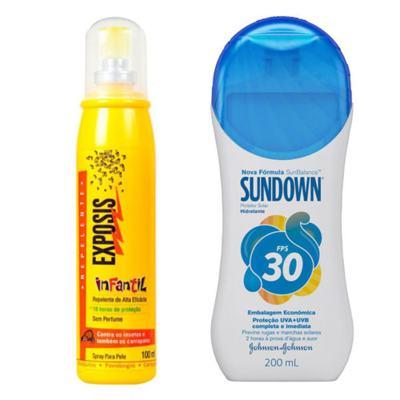 Imagem 1 do produto Repelente Exposis Spray Infantil 100ml + Protetor Solar Sundown FPS 30 350ml