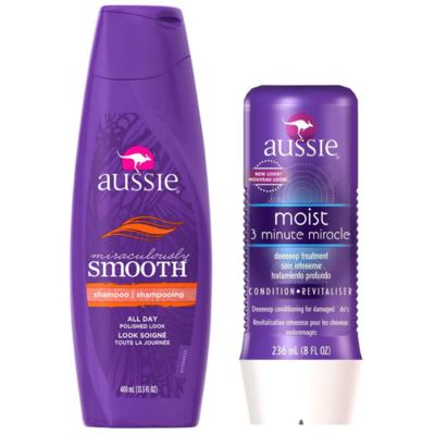 Kit Shampoo Aussie Smooth 400ml + Tratamento Capilar Aussie Moist 3 Minutos Milagrosos 236ml