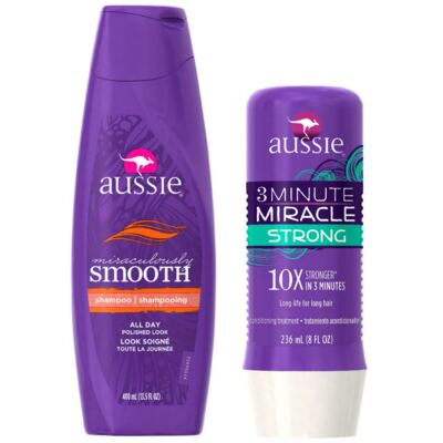 Imagem 1 do produto Kit Shampoo Aussie Smooth 400ml + Tratamento Capilar Aussie Strong 3 Minutos Milagrosos 236ml
