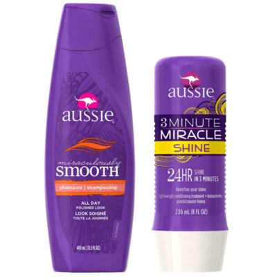 Imagem 1 do produto Kit Shampoo Aussie Smooth 400ml + Tratamento Capilar Aussie Shine 3 Minutos Milagrosos 236ml