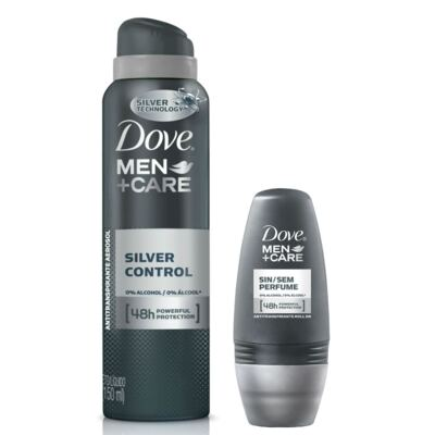 Imagem 1 do produto Kit Dove Men Care Desodorante Aerosol Silver Control 89g + Desodorante Roll On Sem Perfume 50ml