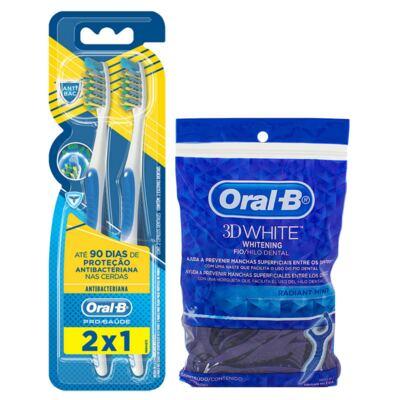 Imagem 1 do produto Kit Oral-B 2 Escovas Pró Saúde Antibacteriana 40 + Fio Dental Flexível Hastes 75 Unidades