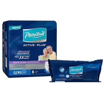 Imagem 1 do produto Roupa Íntima Plenitud Active Plus G/XG com 8 + Toalha Umedecida Plenitud com 42