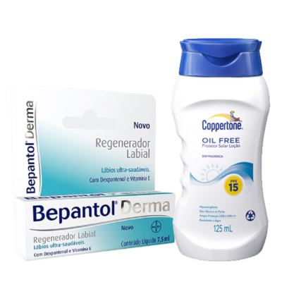 Imagem 1 do produto Bepantol Regenerador Labial Derma 7,5ml + Protetor Solar Coppertone Oil Free FPS 15 125ml