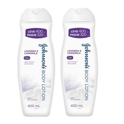 Loção Hidratante Johnson's Softlotion Lavanda e Camomila 400ml 2 Unidades