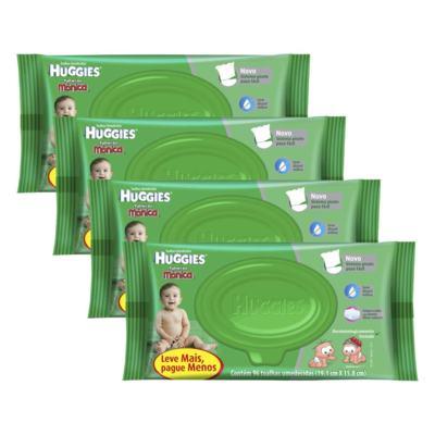 Kit 4 Lenços Umedecidos Huggies Aloe Vera 384 Unidades