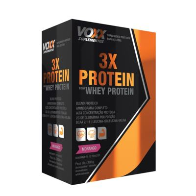 Whey Protein 3X Pó Sabor Morango 300g
