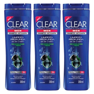 Imagem 1 do produto Kit 3 Shampoo Clear Men Limpeza Profunda Masculino 200ml