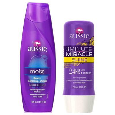 Imagem 1 do produto Kit Shampoo Aussie Moist 400ml + Tratamento Capilar Aussie Shine 3 Minutos Milagrosos 236ml