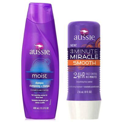 Imagem 1 do produto Kit Shampoo Aussie Moist 400ml + Tratamento Capilar Aussie Smooth 3 Minutos Milagrosos 236ml