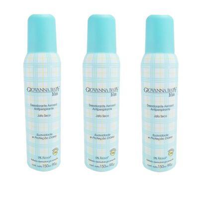 Desodorante Giovanna Baby Aerosol Azul Feminino 150ml 3 Unidades