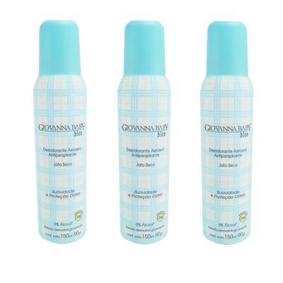 Imagem 1 do produto Desodorante Giovanna Baby Aerosol Azul Feminino 150ml 3 Unidades