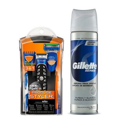 Imagem 1 do produto Kit Gillette Aparelho de Barbear Styler + Espuma de Barbear Séries Pureza e Suavidade 245g