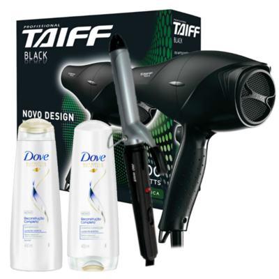 Kit Secador Taiff Black 1700W 110V + Modelador Lizz Wave Bivolt + Dove Reconst. Shampoo/Condic