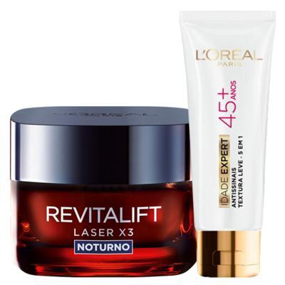 Imagem 1 do produto Kit L'Oréal Paris Revitalift Laser X3 Noturno + Idade Expert 45+ - Kit