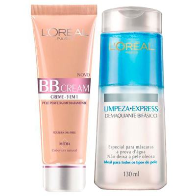 Kit BB Cream L'oréal Paris - BB Cream 5 em 1 + Demaquilante Bifásico - Kit