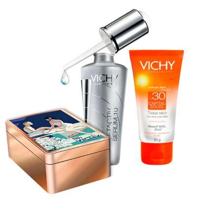 Imagem 1 do produto Kit de Cuidados Faciais Vichy - Protetor Solar FPS 30 50g + Rejuvenescedor Facial 30ml + Lata - Kit