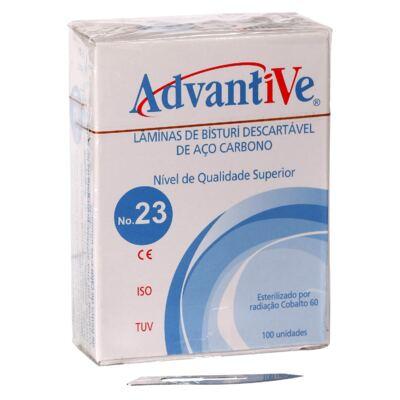 Imagem 1 do produto Lâmina de Bisturi de Aço Carbono Advantive - nº 23