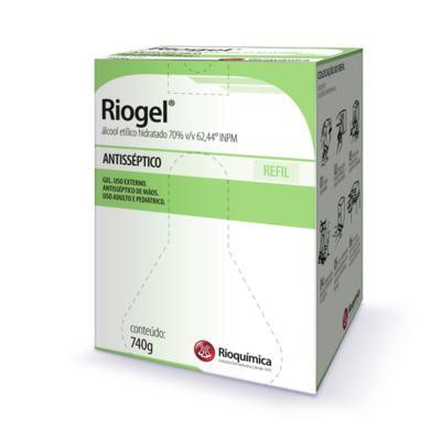 Riogel Rioquímica Álcool 70% Gel Antisséptico de Mãos Refil 740g